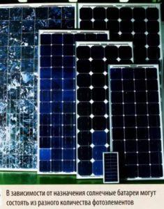 Солнечные батареи могут состоять из разного количества фотоэлементов